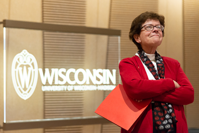 University of Wisconsin-Madison Chancellor, Rebecca Blank, stands proudly and confident as the ribbon cutting ceremony gets underway for the UW's new Hamel Music Center